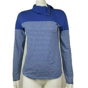 J CREW Blue Striped Painter T Medium Top